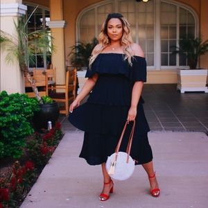 PLUS SIZE Black Pleated Dress